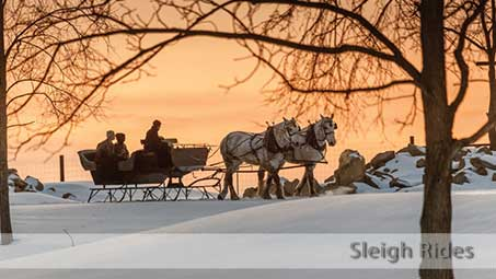 The Farm at Walnut Creek offers sleigh rides in the wintertime, weather permitting